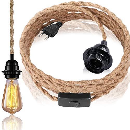 Pendelleuchte Kit mit Schalter, 4.5 Meter Hanfseil Kronleuchter mit E27 Lampenfassung für Halle Küchenleuchte Esstisch Bar(ohne Birne)