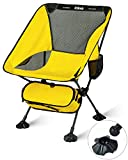 iClimb Ultralight Compact Camping Folding Beach Chair with Large Feet (Yellow - Basic)
