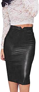 Women Leather High Waist Skirt Slim Party Pencil Skirt