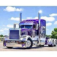 DIY5Dダイヤモンド刺繡青いトラックヘッドディアマントクロスステッチフルスクエアDIYダイヤモンド絵画フロントモザイク写真パズルカーA12131.60x80CM