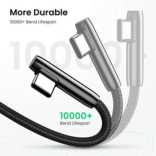 UGREEN USB C Kabel 3A Ladekabel 90 Grad Winkel USB C auf A Schnellladekabel kompatibel mit Galaxy S10 S9 S8 A50 A40 M20, Huawei P30 lite, Xperia 10, HTC U11, Xiaomi Mi 8 usw.Aluminium (2M)