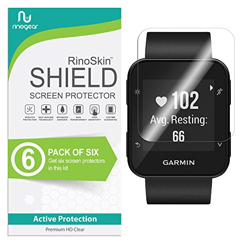 (6-Pack) RinoGear Screen Protector for Garmin Forerunner 35 Case Friendly Garmin Forerunner 35 Screen Protector Accessory Full Coverage Clear Film