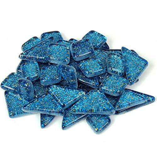 ACVIP Unregelmäßiges Glasmosaik Mosaiksteine Hauptdekorationen(Azurblau,100g)