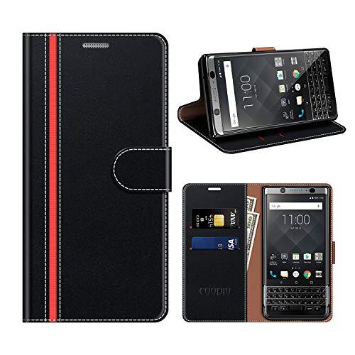 COODIO BlackBerry KEYone Hülle Leder, KEYone Kapphülle Tasche Leder Flip Cover Schutzhülle Rugged für BlackBerry KEYone Handyhülle, Schwarz/Rot