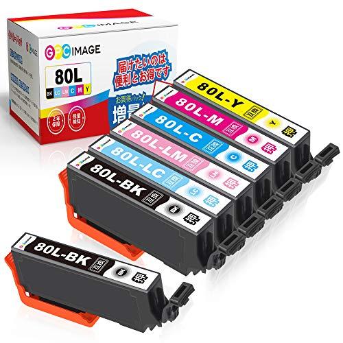 GPC Image IC6CL80L 互換インクカートリッジ 80 6色パック+ ICBK80L (計7本) 増量タイプ エプソン(Epson)用 IC80L とうもろこし インク EP-982A3 EP-707A EP-807AR EP-808AW EP-977A3 EP-979A3 対応の 80L 互換インク 残量表示機能 2年保証 個包装
