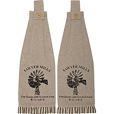 VHC Brands Farmhouse Sawyer Mill Charcoal Windmill Button Loop Kitchen Towel (Set of 2), One Size, Unique