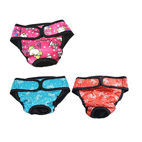 UEETEK Pañales para Perro Sanitarios Fisiológicas Bragas Lavable Pantalones de pañales para Perro Mascotas - 3 Piezas