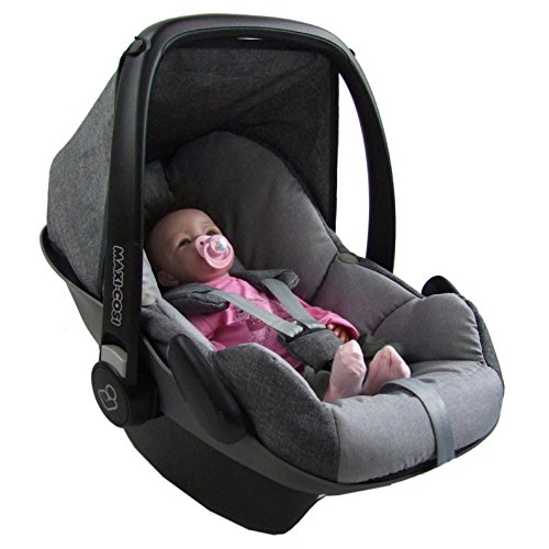 BAMBINIWELT Ersatzbezug für Maxi-Cosi PEBBLE 5-tlg, Bezug für Babyschale, Komplett-Set GRAU/HELLGRAU XX