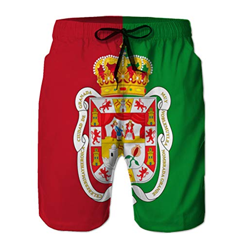Yuerb Men's Quick Dry Summer Beach Surfing Board Swim Shorts Flag Granada City in anda