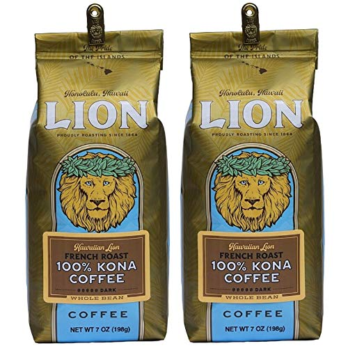 Lion Coffee, 100% Kona, French Roast, Whole Bean, 7 Ounce Bag (Pack of Two)