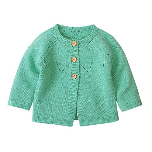 H.eternal(TM) - Chaqueta de punto para bebé o niña, para niño, jersey de ganchillo Verde verde 6-12 Meses