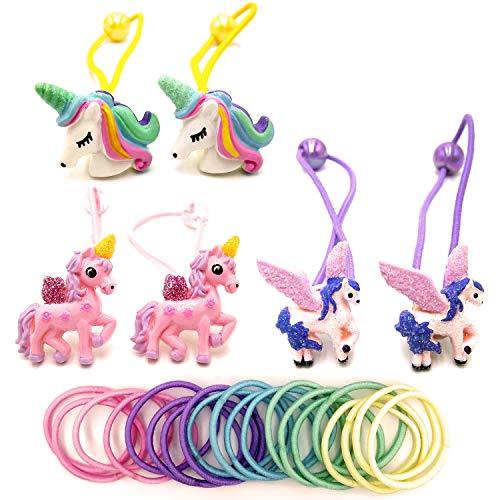 Rainbow Unicorn Elastic Hair Ties For Girls Glitter Hair Accessories Unicorn Hair Ponytail Holder For Kids 6 pcs Unicorn Hair Rope For Gift Mini Hair Rope for Baby Girls