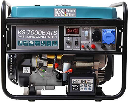 Könner & Söhnen KS 7000E ATS - 4-Takt Benzin Stromerzeuger 13 PS mit E-Start, Notstromautomatik, 1x16A, 1x32A (230V), Automatischer Spannungsregler, Anzeige, Generator für Haus, Garage, Werkstatt