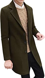 Toimothcn Men Single Breasted Pea Coat Formal Business Blazer Suit Long Jacket Outwear