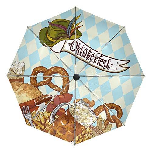Wamika Oktoberfest Feier Automatischer Regenschirm Bayerische Hut Winddicht Wasserdicht UV-Schutz Reise Regenschirm – 3 Faltungen Automatischer Öffnen/Schließen Knopf Sonne & Regen Auto Regenschirm