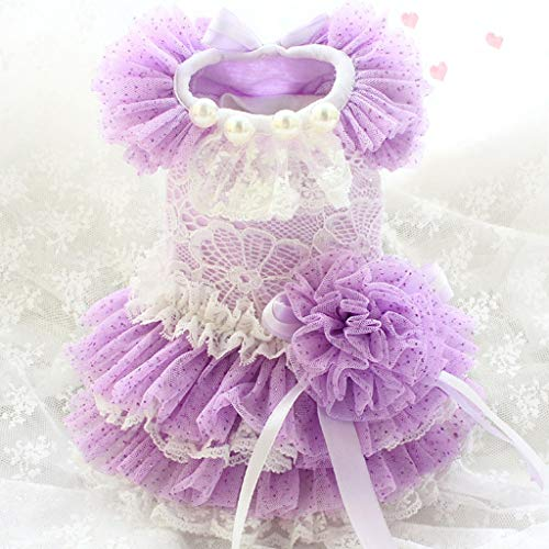 YUTRD ZCJUX Handmade Dog Dress Pet Clothes 100% Cotton Lace Tulle Bow Outfit Little Fairy Party Princess Poodle Maltese (Size : Large)