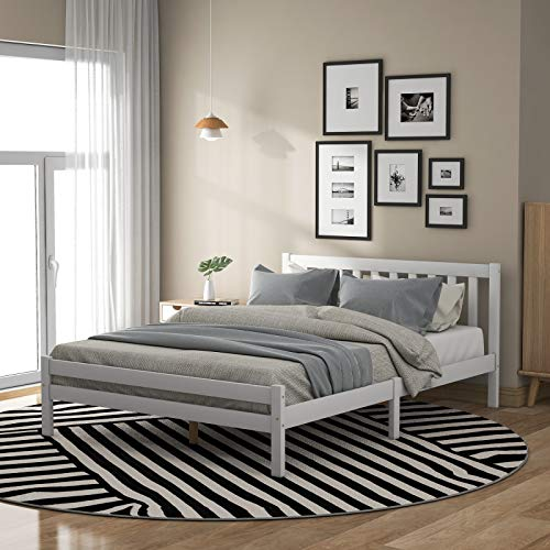 Marco de madera para cama doble, cama de madera maciza con acabado blanco, 10,4 m (4 pies), muebles de dormitorio para adultos, niños, adolescentes, blanco