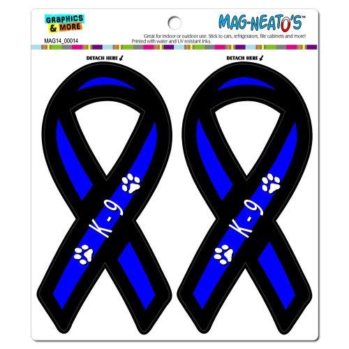 Graphics and More K-9 Unit Paw Prints Thin Blue Line Support Ribbon Automotive Car Refrigerator Locker Vinyl Magnet Set