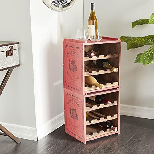 Deco 79 Wine Rack, 14' L x 13' W x 16' H, Red