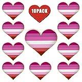rhungift Broche de corazón esmaltado de calidad con diseño de orgullo lésbico, paquete de 10 unidades, pin de solapa con bandera de Gay LGBTQ