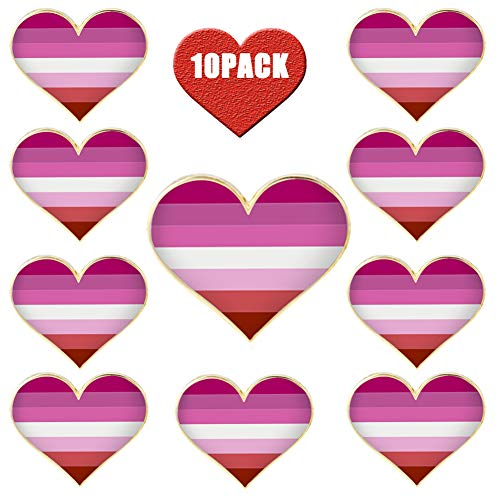 Rhungift Lesbian Pride pins-10 Pack Jewelry Quality Enamel Heart Brooch Pin -Gay LGBTQ Flag Lapel Pin