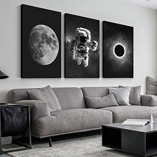 SIGNFORD 3 Panel Canvas Wall Art Astronaut Grand Eclipse Moon Kids Canvas Painting Wall Decor for Living Room Framed Home Decorations - 16'x24' x 3 Panels