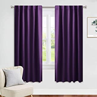 PONY DANCE Living Room Curtains - 42 Wide x 72 inches Long, Royal Purple Blackout Drapes Thermal Insulated Back Tab & Rod Pocket Curtains/Window Coverings Panels for Kids' Room, 2 Pieces