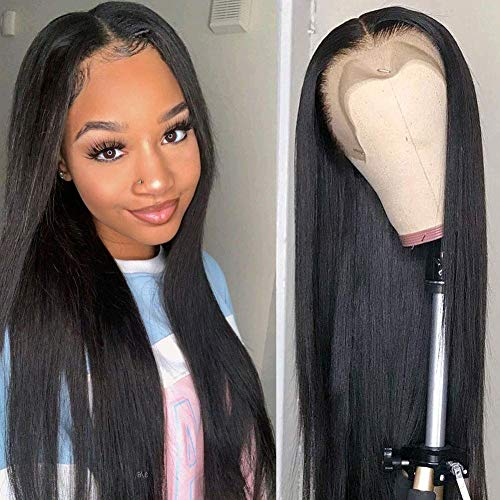 Flady Lace Front Human Hair Wigs for Black Women Bleached Knots 150% Denisty 9A Brazilian Straight Lace Front Wigs with Baby Hair Pre Plucked Hairline 20inch