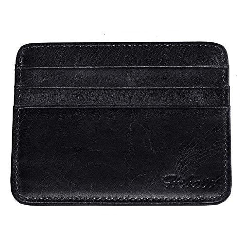 Hibate (Negro) Mini Piel Tarjetero para Tarjetas de Crédito Cartera Hombre Niño Cuero Fundas Billetera
