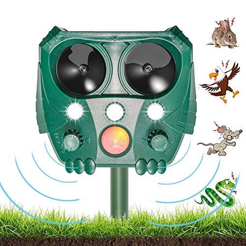 JTENG Tiervertreiber Ultraschall Solar, Katzenschreck Tiervertreiber, Marderabwehr mit Bewegungsmelder & Blitz für Katzen, Hunde, Schädlinge, Rotwild