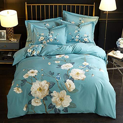 yaonuli Lijado de algodón de Cuatro Piezas de algodón Completo lenguaje de pájaros Floral 1.8 Funda de edredón de Cama 200 * 230 cm sábana 245 * 250 cm Funda de Almohada Dos