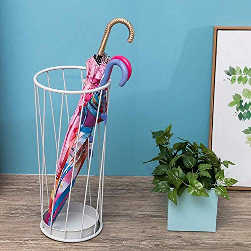 Paragüero Simple de pie, paragüero de jardín de Hierro metálico, paragüero Simple para palosBlank Sticks, Negro Blanco, 22 × 55 cm (Color: Blanco)