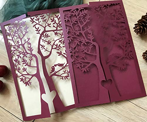 Wine Red Burgundy Tree Laser Cut Wedding Invitations,Wedding Invite,Lace Wedding Invite,Tree Invitation,Love Bird Laser Cut Wedding Invitation,Invitation Cards,50pcs