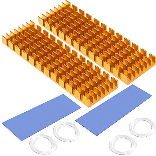 M.2 SSD-Kühlkörper mit wärmeleitender Klebefolie gegen thermisches Durchgehen Kühlkörper-Kühlkörper-CPU-IC-Chip-Leiterplatte für LED-Verstärker Aluminium 70 mm × 22 mm × 6 mm (2 Stück, Gold)