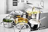 Deik juego de ollas, olla acero inoxidable, batería de cocina, utensilios de cocina, cuatro ollas de acero inoxidable con tapas de vidrio templado y un olla de acero inoxidable con mango - 2