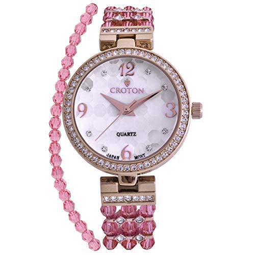 Croton Damen Rosa Perlmutt Zifferblatt Armbanduhr mit Kristall Lünette & Armband Set–cn407567ylmp