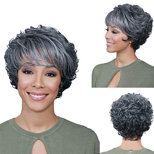 Human Hair WigFashion Women's Sexy Mixed Color Full Bangs Wig Short Wig Curly Wig Styling Cool Wig African American Pixie Wigs Gray Short Hair Wig with Rose Net (Gray)