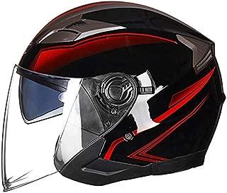 Leoie Half Face Motorbike Helmet for Men, Unisex Lightweight Summer Motorcycle Helmet Double Lens Open Face Helmet Bright Black Red Flower M