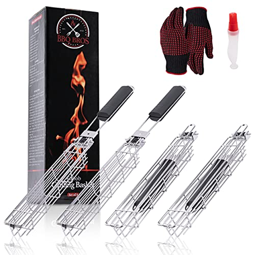 BBQ Bros Kabob Grill Baskets - Set of 4 Kebab Stainless Steel Baskets - Foldable - Dishwasher Safe - Includes Oil Brush Bottle & Grill Gloves - Shish Kabob Recipe Included - Premium Barbecue Tool Sets