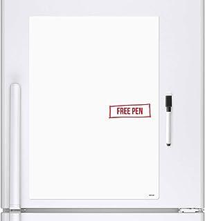 CKB LTD A4 en Blanco Hoja de señalización Pizarra Blanca Nevera Imán de Junta magnética de borrado en seco con Marcador borrado en seco Tablero Blanco tablón de Notas Agenda semanal Grande 29 x 21 cm