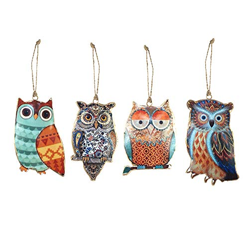 Art Deco - Figure Hibou x4 Couleurs 14 cm