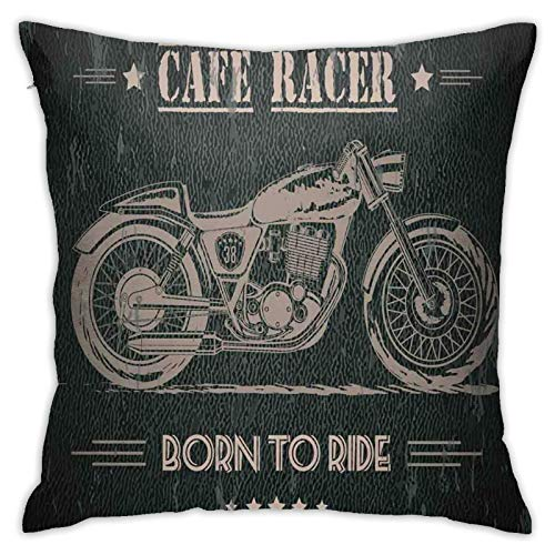 FULIYA Polyester cushion cover decoration pillow case square pillow case for sofa and car, home bed 45 x 45cm, 1 set (Born To Die Quote With Bike On Grunge Effect Dark Colored Background)