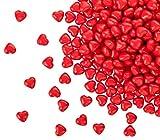 Kleenes Traumhandel 100 matt rote Acryl Herzen mit 12 mm Durchmesser - Dekosteine Tischdekoration für Hochzeit und Verlobung - Ideale Streudeko