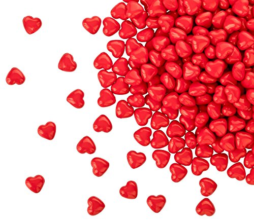 Kleenes Traumhandel, 100 cuori in acrilico rosso opaco, con diametro di 12 mm, pietre decorative da tavolo per matrimonio e fidanzamento, decorazione ideale