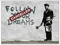ポスター バンクシー Follow Your Dreams 額装品 アルミ製ベーシックフレーム