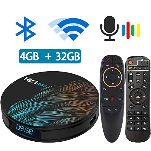 Android TV Box 9.0 with Air Mouse RK3318 5.8G 2.4G Dual Band WiFi 4GB 32G Bluetooth 4.1 and Google Assistant Air Mouse with Gyro Media Player 3D 4K HD Resolution Set Top Tv Box