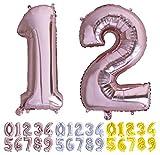 Globo numero 12 o 21 Oro Rosa. Globos Foil Gigante números 1 2 fiestas cumpleaños decoración fiesta aniversario boda tamaño grande 70 cm con accesorio para inflar aire o helio (12/21 Oro rosa)