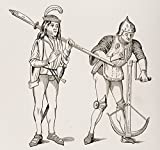 Posterazzi Varlet Or Squire Carrying Thick Bladed Halberd And Archer In Fighting Dress Drawing Crossbow String With Double Handled Winch From 15Th Century Miniatures Poster Print, (30 x 28)