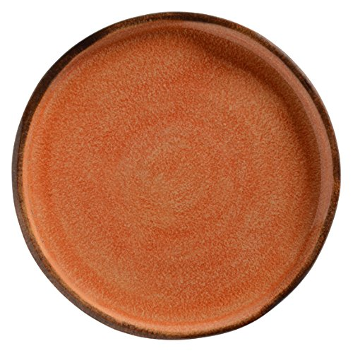 Rust Dinner Plate - Handpainted Rustic Dinnerware Made in Italy, Dishwasher & Microwave Safe Glazed Ceramics - Taormina Collection: Burnt Orange & Red Rust Table Ware & Italian Home Decor