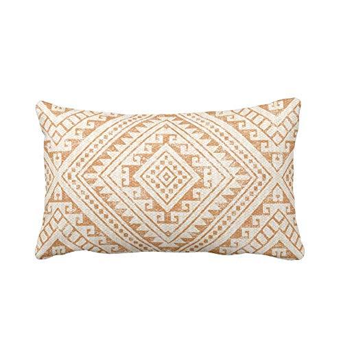 Fundas de almohada lumbar, almohada de diamante Geo, Adobe, impresión geométrica de color naranja tierra/marrón, funda de cojín decorativa para sofá, dormitorio, coche, 30 x 50 cm